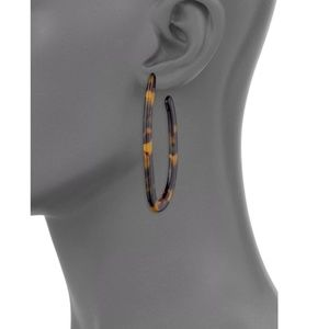 Kenneth Jay Lane Tortoiseshell J-Hoop Earrings